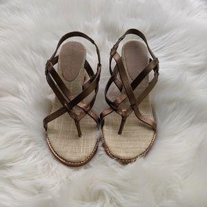 Tommy Bahama Shoes - Tommy Bahama Bronze Skinny Strap Leather Wedge